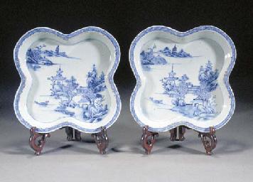 A Pair of Blue and White Quatr