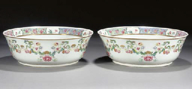 A pair of famille rose bowls E