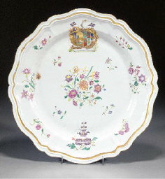 An armorial silver shaped dish