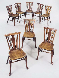 A set of eight fruitwood and e
