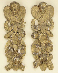 A pair of French carved and gi