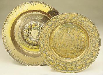 A Nuremburg brass alms dish, p