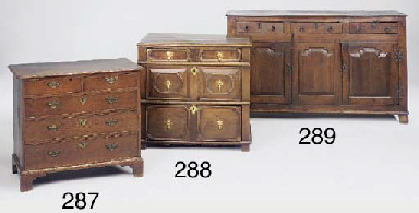An oak chest of drawers, Engli