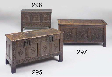 An oak panelled chest, possibl