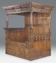 AN OAK BEDSTEAD, DUTCH, EARLY