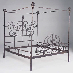 A wrought iron bedstead, Itali