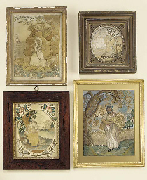 Four embroidered silk panels,