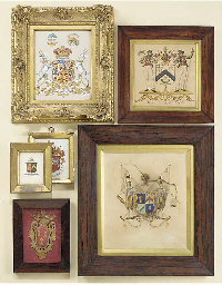 Six armorial panels, 19th cent