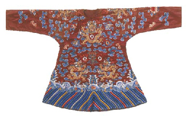 A child's dragon robe of brown