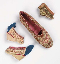 A pair of lotus bud shoes, the