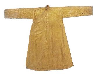 A tchuba of yellow silk damask