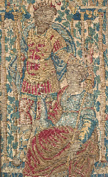 A fine tapestry panel, woven i