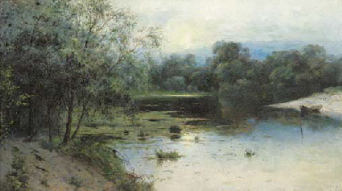 A tranquil lake landscape at d