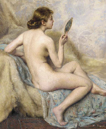 A nude with her vanity mirror
