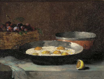 A still life with eggs, plums