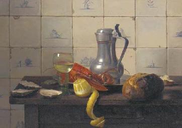 A lobster, a partly peeled lem