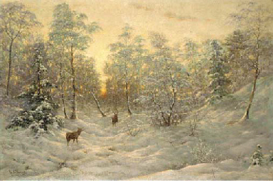 Deer in a snowy landscape at d