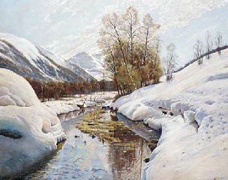 A snowy river landscape