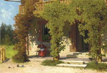 A cardinal on his terrace