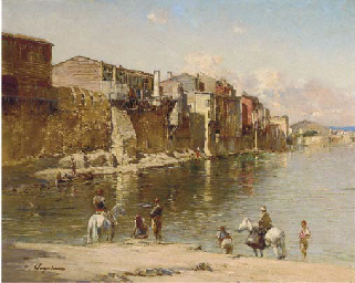 Figures on a river bank
