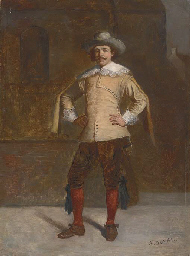 A musketeer in a courtyard
