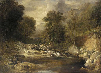Anglers in a mountainous river