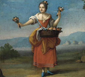 A peasant girl with a basket o