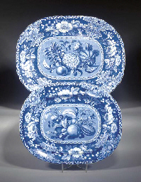 Two Staffordshire pottery blue