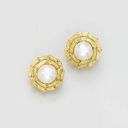 A PAIR OF MABE PEARL AND GOLD