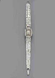 A DIAMOND WRISTWATCH, BY HAMIL