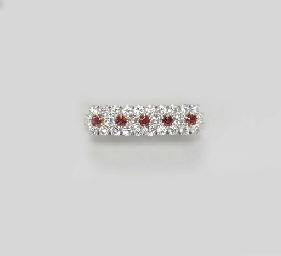 A DIAMOND AND RUBY BAR PIN
