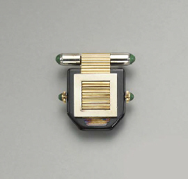 AN ART DECO ENAMEL, GOLD AND M