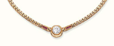 A DIAMOND, RUBY AND 18K GOLD N