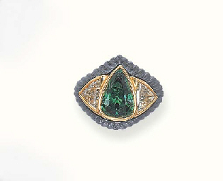 AN EMERALD, DIAMOND AND HEMATI