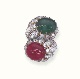 AN EMERALD, RUBY AND DIAMOND R