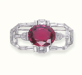 A DIAMOND AND SPINEL BROOCH