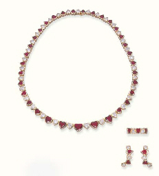 A SUITE OF RUBY AND DIAMOND JE