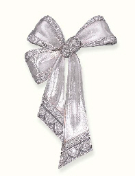 A DIAMOND-SET RIBBON BOW BROOC