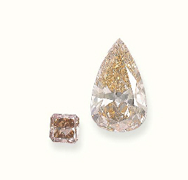 TWO UNMOUNTED COLOURED DIAMOND