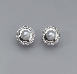 A PAIR OF WHITE GOLD CULTURED