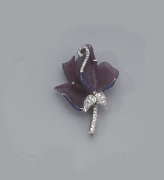 A WHITE GOLD AND DIAMOND ORCHI