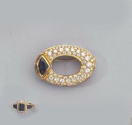 A GOLD, DIAMOND AND SAPPHIRE B