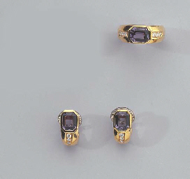 A PAIR OF GOLD AND TANZANITE E