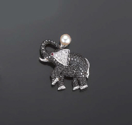BROCHE ELEPHANT DIAMANTS, PAR