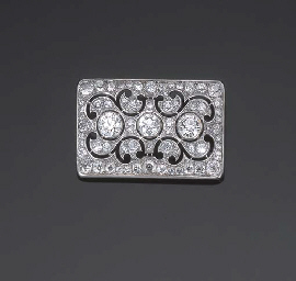 BROCHE PLAQUE ART DECO DIAMANT