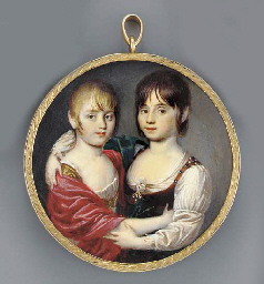 Two young girls waist-length,