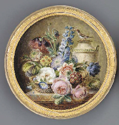 A still-life of flowers in a b