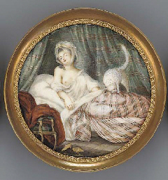 A young lady reclining in her