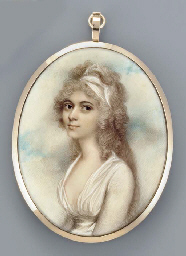 A young lady, facing left in w