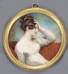 A young lady, in profile to th